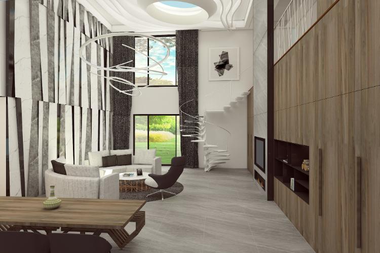 迴,回 | 迴盪在新奇又炫麗的人生百態,最後回到歸隱的家 #挑高設計 #客廳設計 #3D圖渲染
