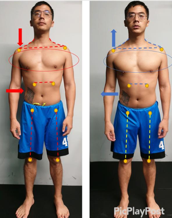 一小時評估前後對照 胸肌更明顯,腹部壓迫解除,身體更能挺立